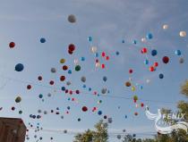 Запуск шариков на Праздновании 71-й годовщины Победы в Великой отечественной войне