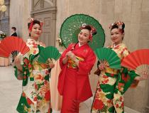 Японский танец с веерами осенний листопад Москва