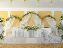 Оформление свадьбы тканью и цветами