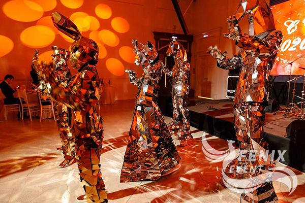 Артисты в зеркальных костюмах на праздник, свадьбу, юбилей Москва