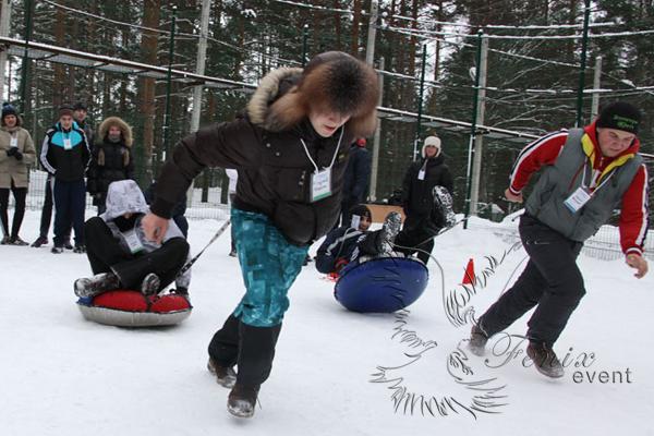Спортивный тимбилдинг веселые страрты зимой на природе
