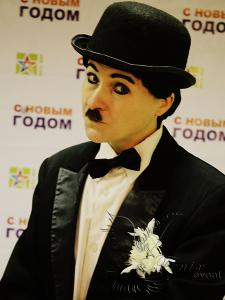 Двойник Чарли Чаплина на праздник в Москве