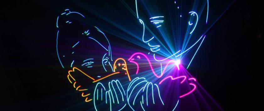 Заказать лазерное шоу на свадьбу и праздник в Москве недорого история любви лазерное световое шоу